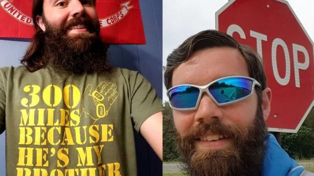 Columbus veteran running from Alabama to Indiana to raise awareness for PTSD & veteran suicides