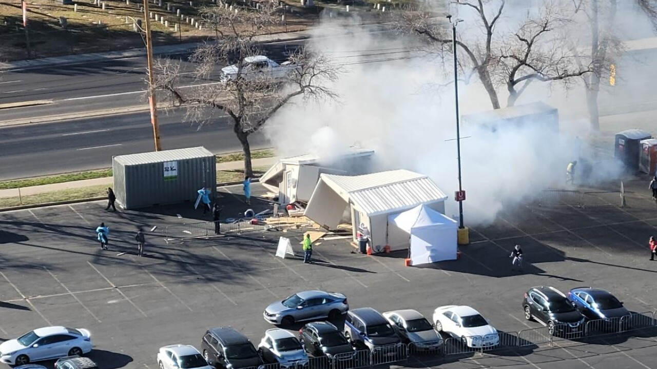 Truck crashes into tent at COVID-19 testing site in SLC