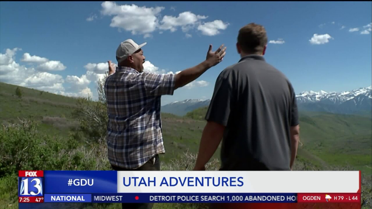 Budah rides up Cummings Parkway on a Utah Adventure with Wasatch Excursions