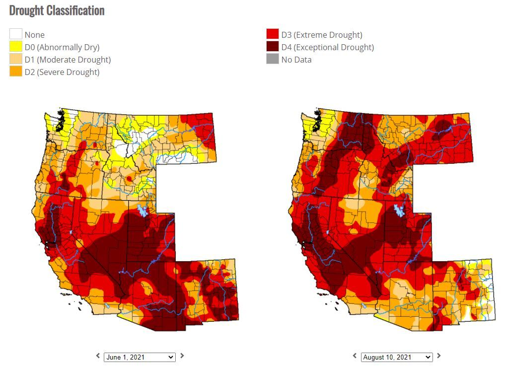 Comparing drought conditions in Western states - June 1, 2021 to Aug. 10, 2021.