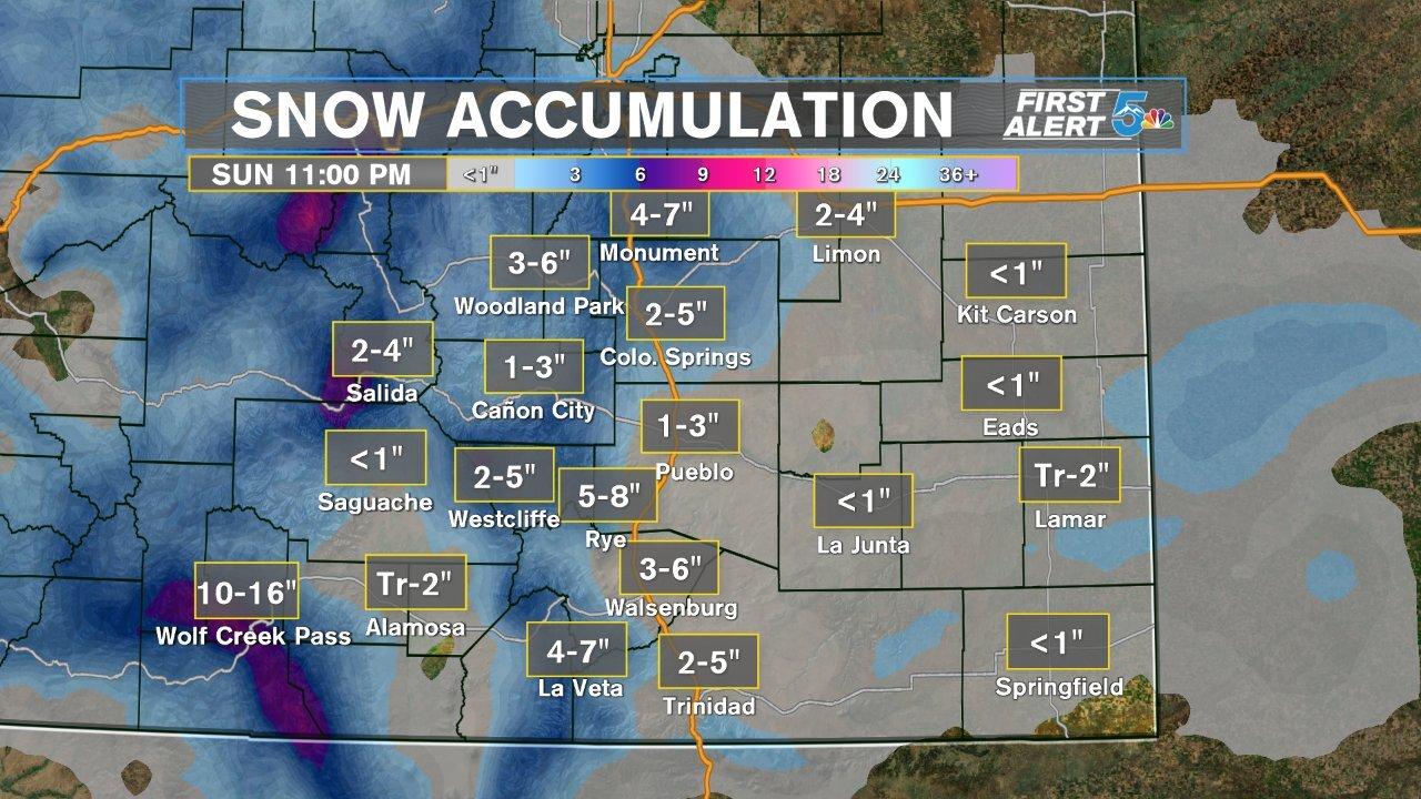 Sunday's snow forecast