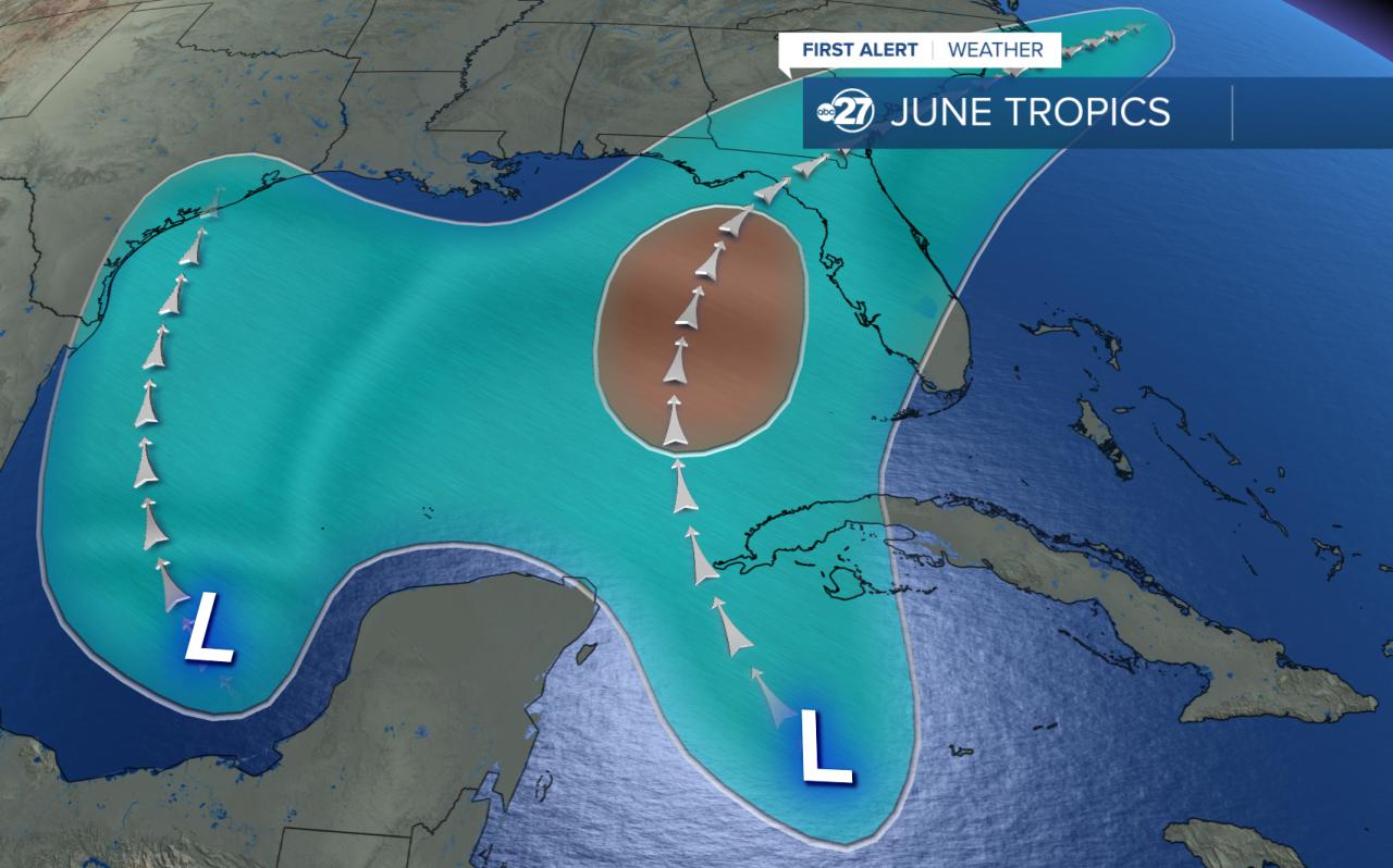 Typical tropical development zones in June
