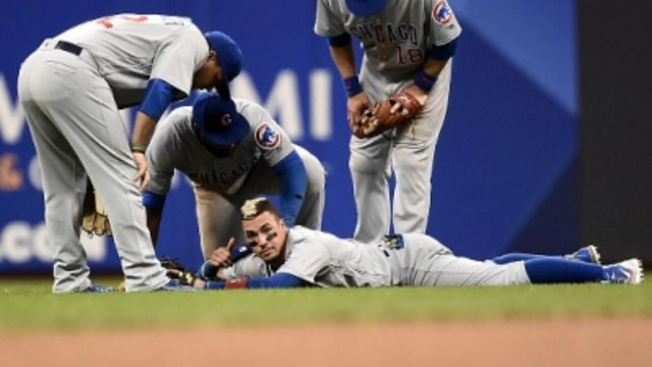 Cubs' Baez returns after Miller Park collision