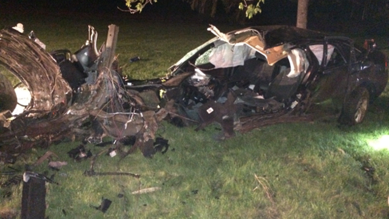 Alcohol a factor in crash that split car in two