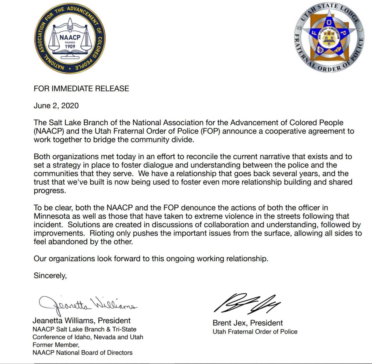 NCAAP Utah FOP letter