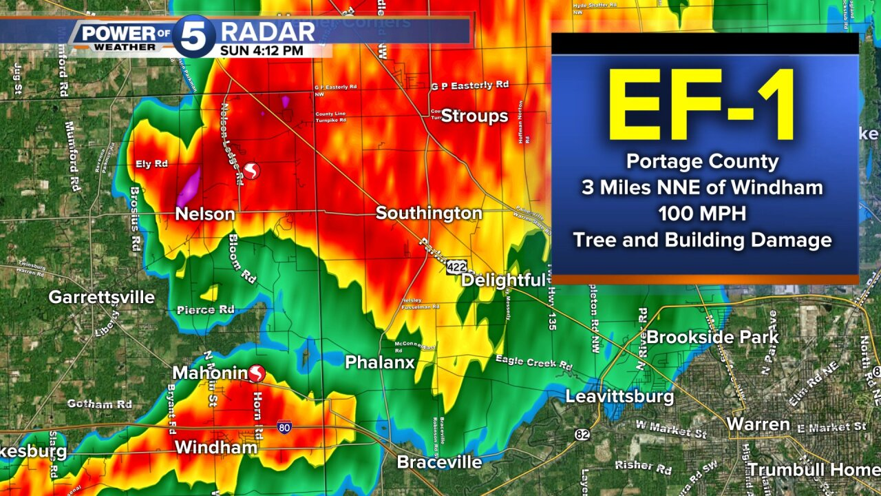 EF-1 tornado in Portage/Trumbull counties