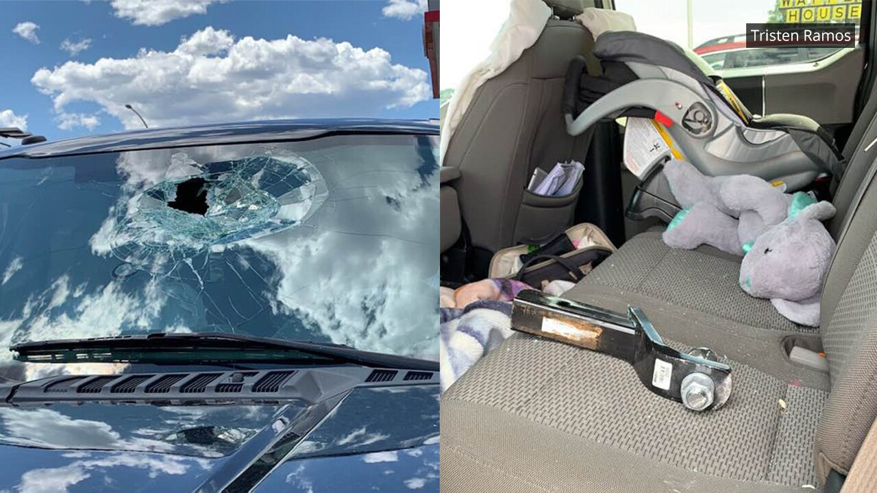 Trailer hitch crashes through windshield on I-25 in Colorado Springs
