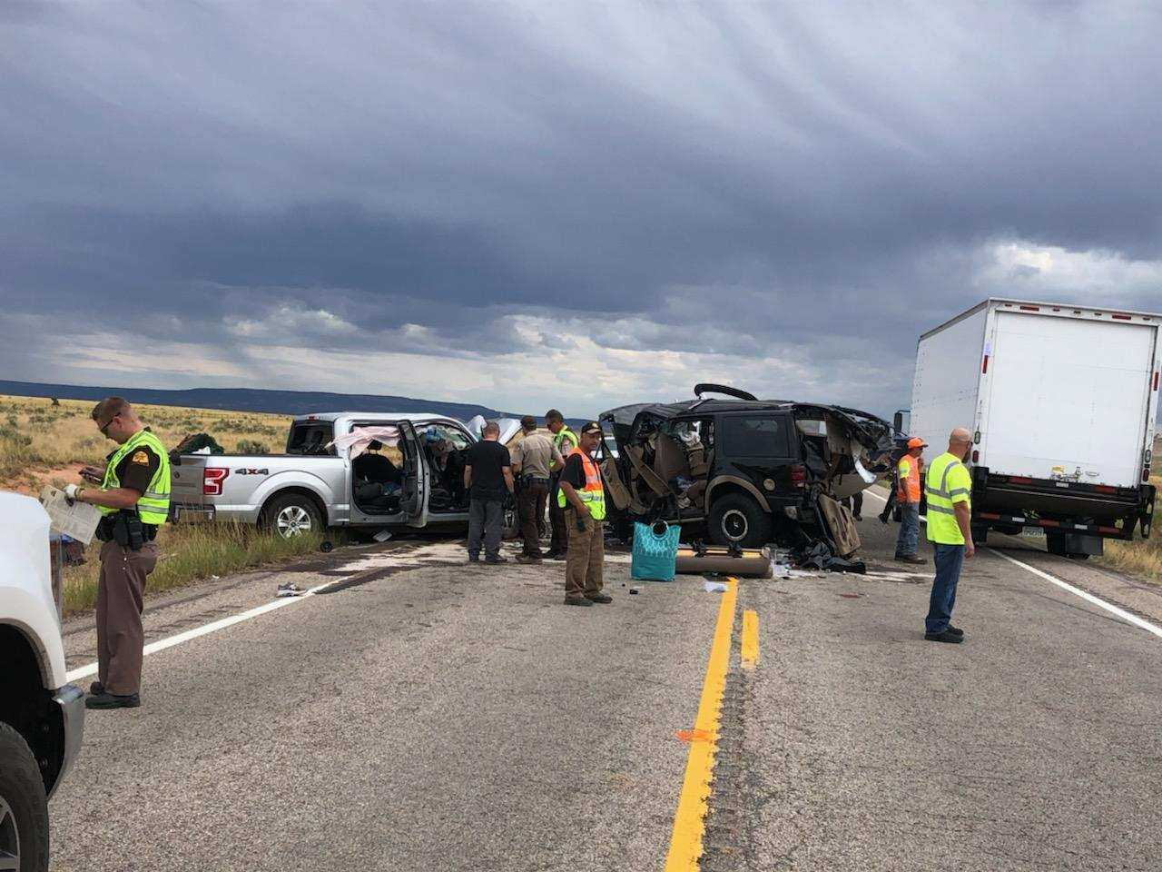 Photos: Three people killed when two vehicles, one pulling a boat, crash head-on on US-191 in San JuanCounty