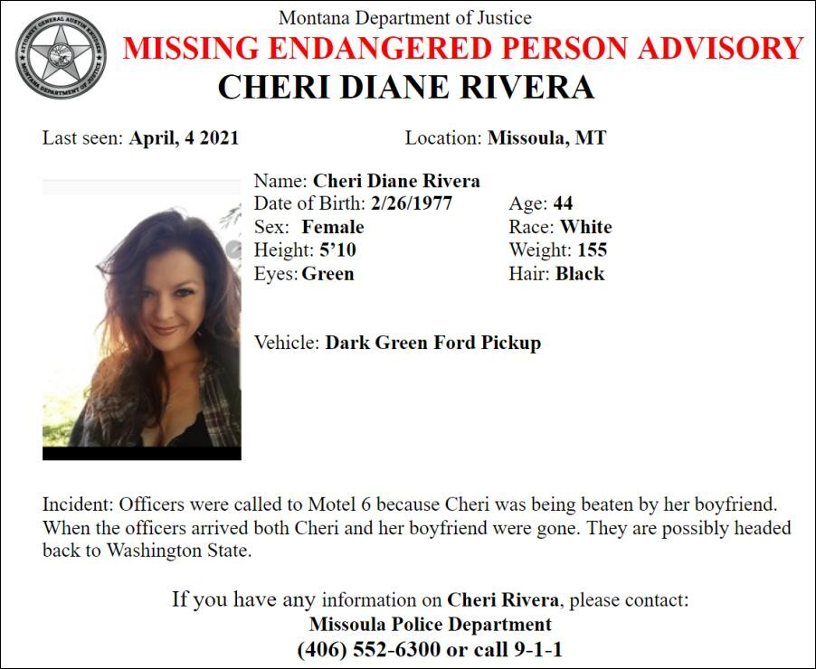Missing/Endangered Person Advisory for Cheri Diane Rivera