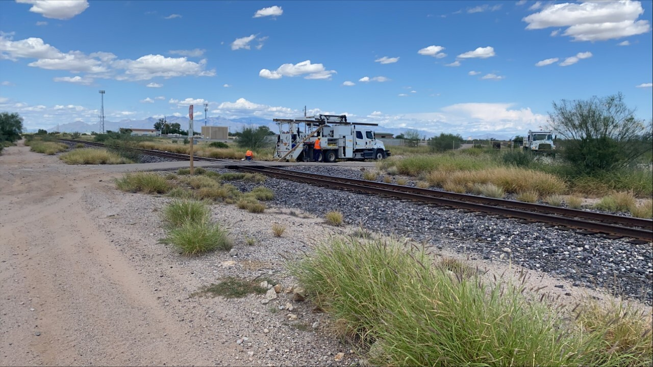 A truck driver was seriously injured when his vehicle hit a train Tuesday.