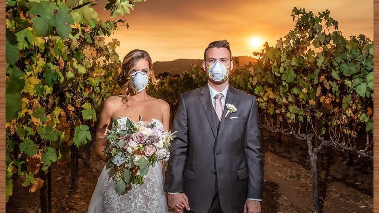 Viral wedding photo captures joy, sorrow amid California wildfire