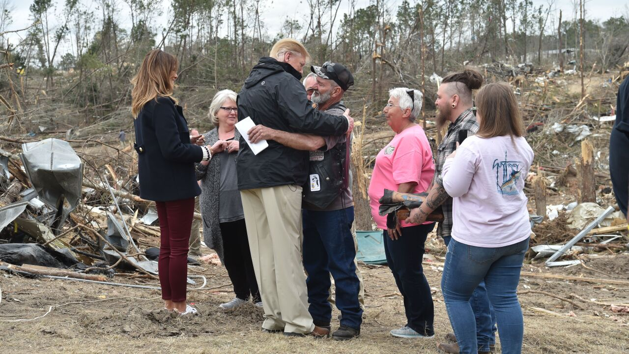 Tornado-ravaged Alabama greets President Trump Friday, more severe weather expected Saturday