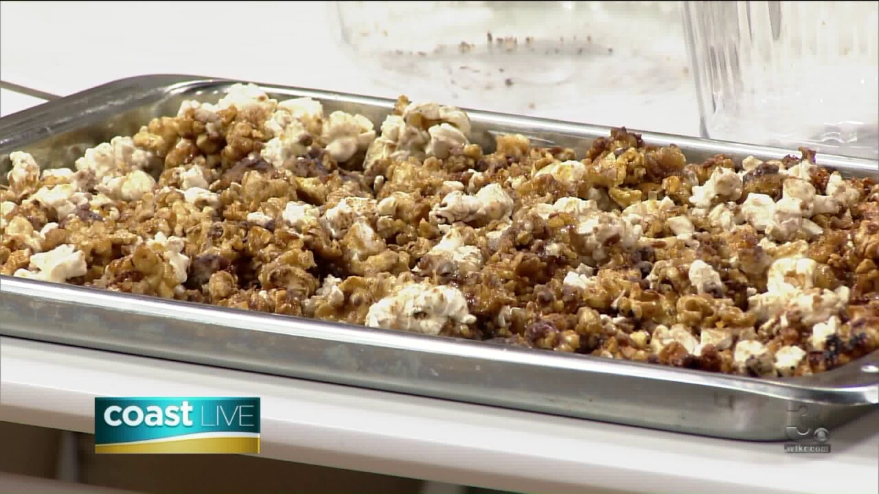 Making Samoa Cookie Popcorn with local Girl Scouts on CoastLive