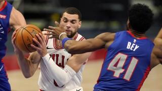 Saddiq Bey, Zach LaVine Pistons Bulls Basketball