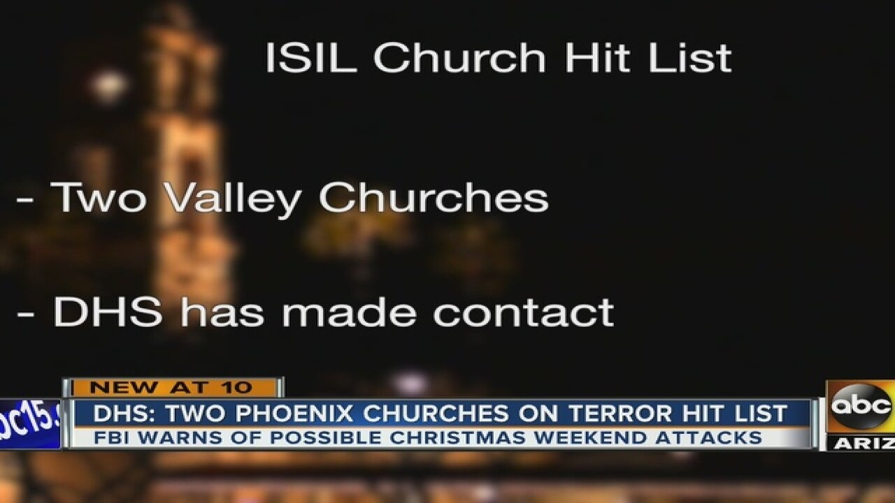 Phoenix churches on alert for possible attcks