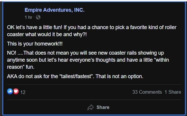 Empire Adventures Facebook Post