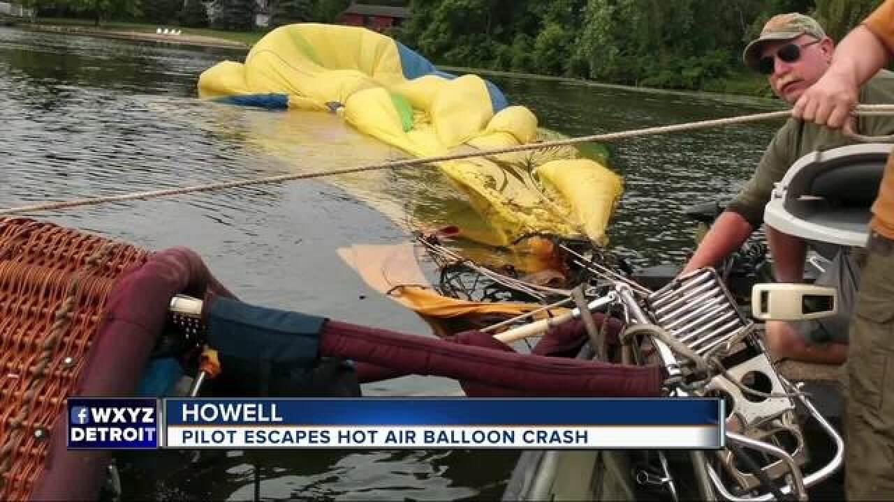 Hot air balloon crashes, hits power lines