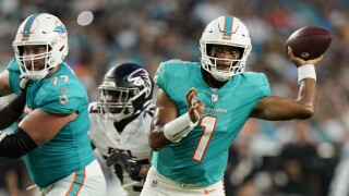Miami Dolphins QB Tua Tagovailoa looks to pass vs. Atlanta Falcons in 2021 preseason game