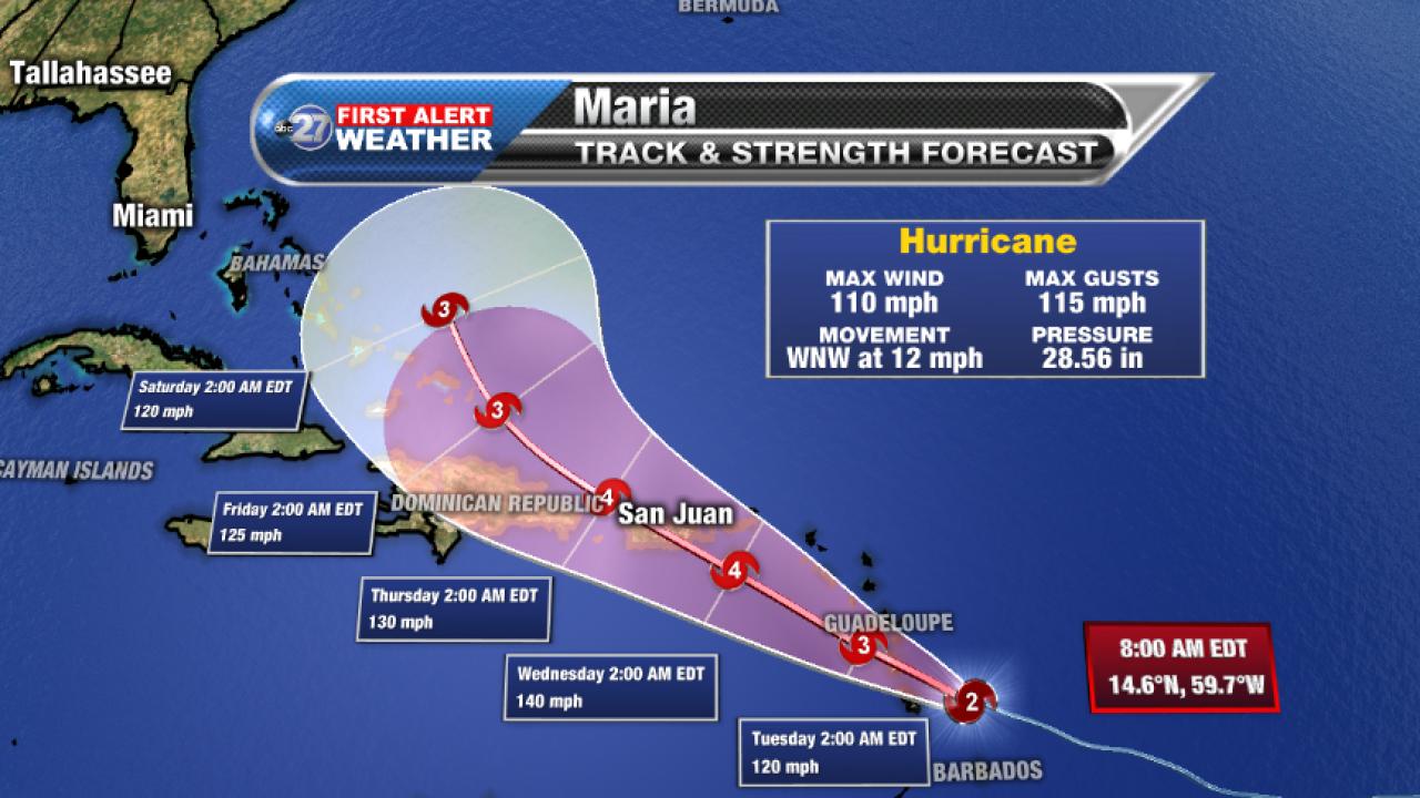 Hurricane Maria 8am Advisory and forecast track (09/18/2017)