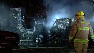 Trailer fire in Walton