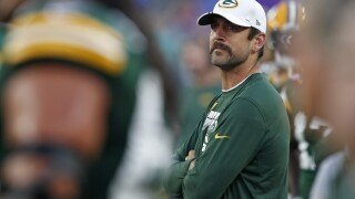 Aaron Rodgers on sideline Ravens game August 15, 2019