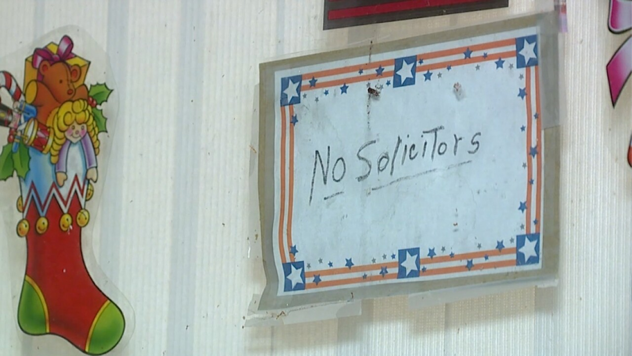 No Solicitors sign in window