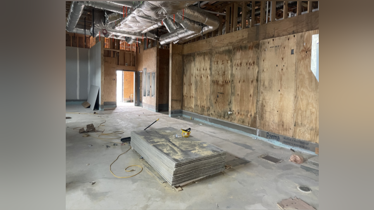 Interior construction photos of the new Chick-fil-A in Portland