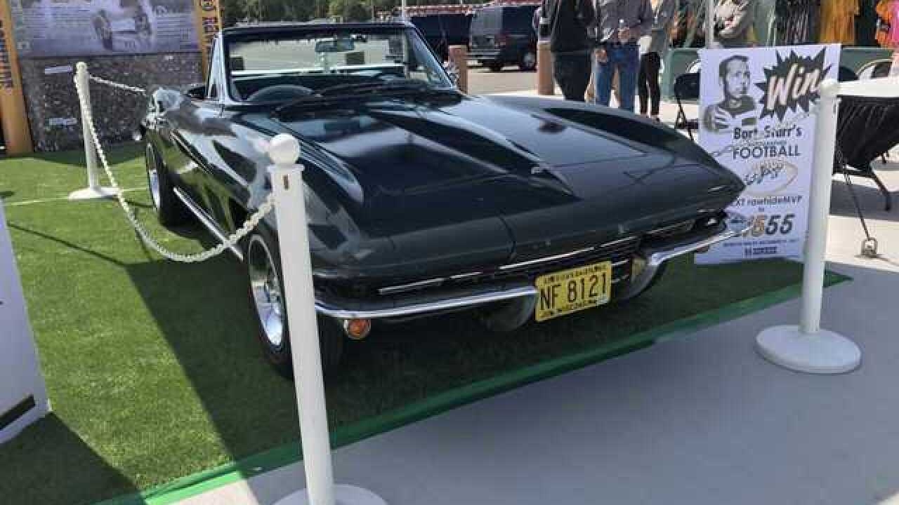 Bart Starr Corvette displayed at Lambeau