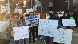 Parents and students protest outside Washington Township administration in March