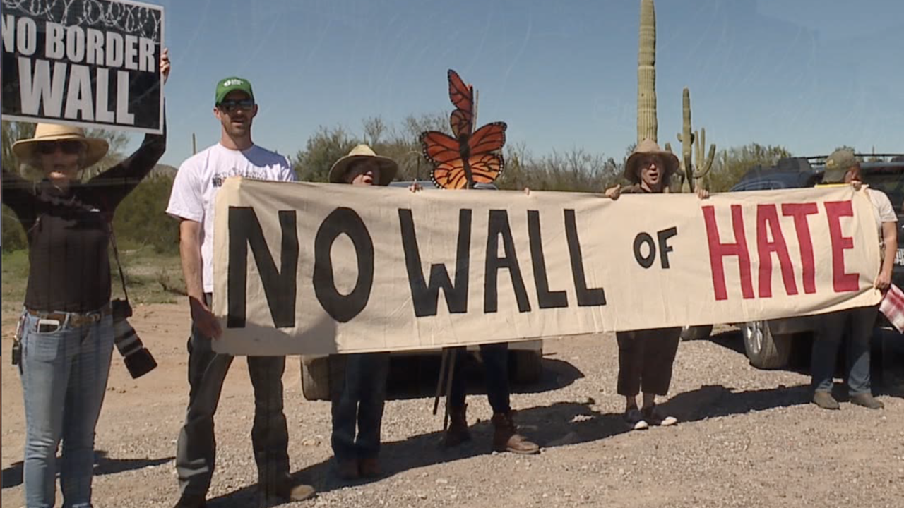 Border wall protest at Organ Pipe National Monument