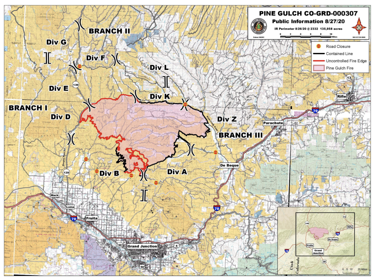 Pine Gulch Fire map_Aug 26 2020