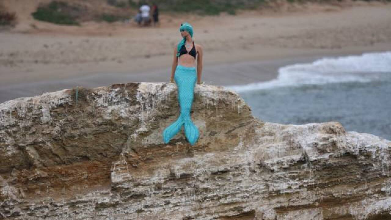 Mermaid mysteriously appears on 'The Rock'