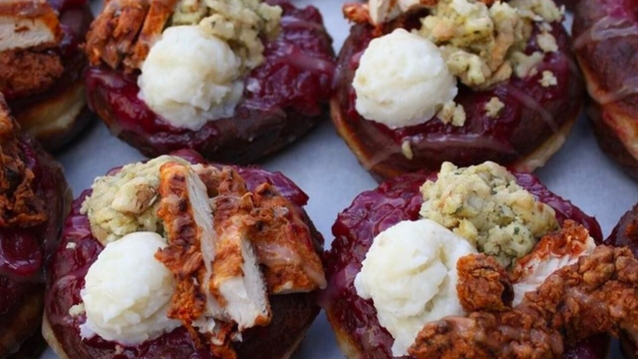 This doughnut is topped with an entire Thanksgiving meal