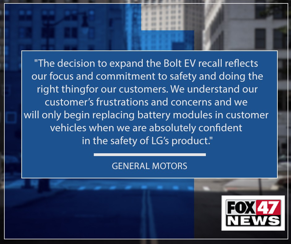 Statement from General Motors on the Chevy Bolt EV Recall