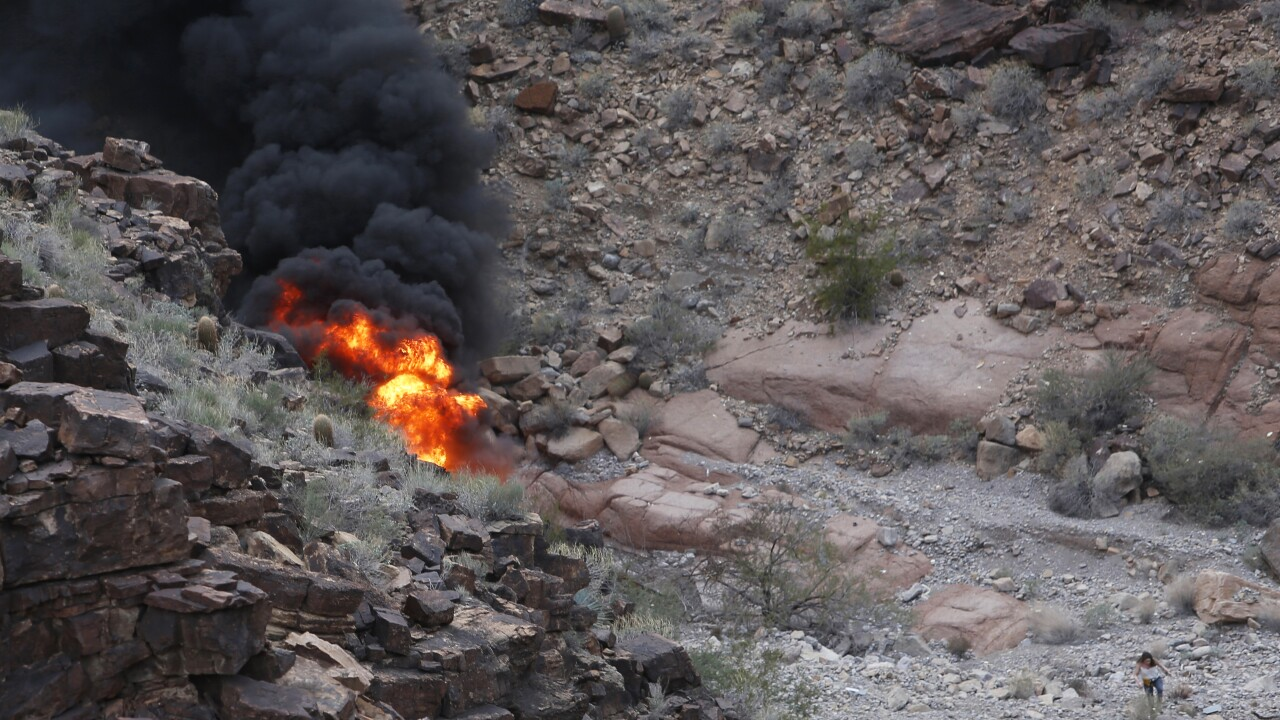 "The pilot of a helicopter that crashed in the Grand Canyon in 2018, killing five British tourists, says he lost control of the aircraft after a ""violent gust of wind"" sent it spinning. Photo via AP."