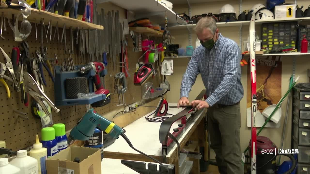 Skis getting waxed and sharpened at The Base Camp in downtown Helena