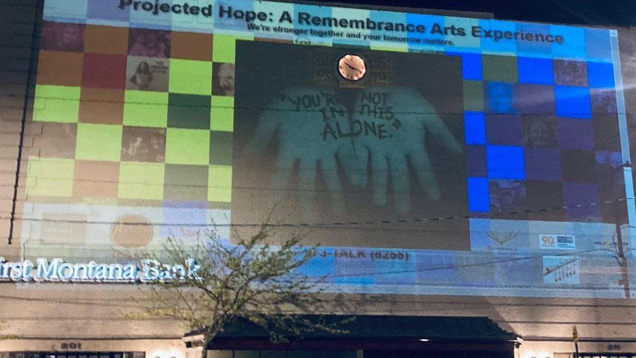 """Projected Hope"" art instillation raises suicide prevention awareness"