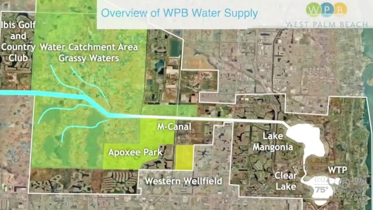 Map for the water supply in West Palm Beach