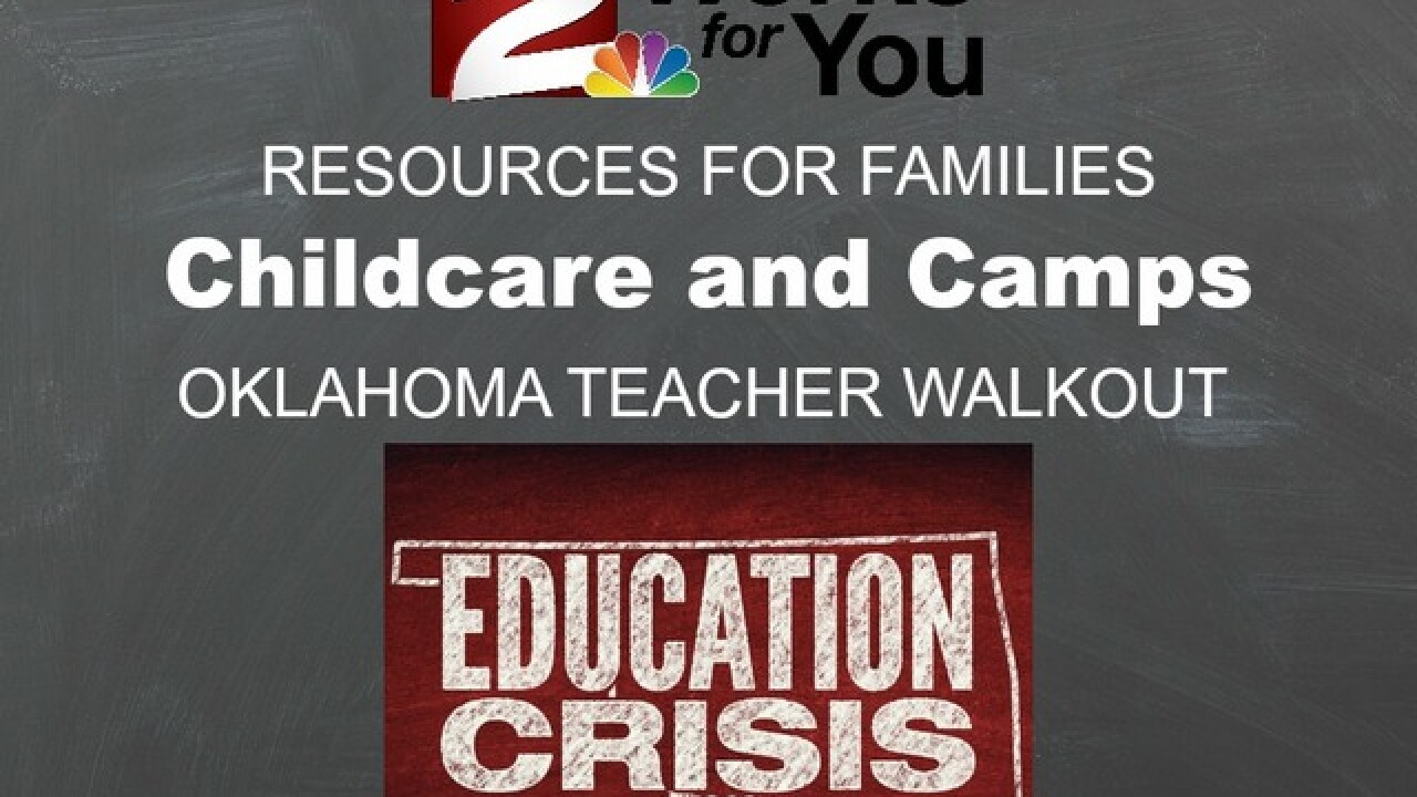Resources for alternative child care, camps and activities during Oklahoma teacher walkout