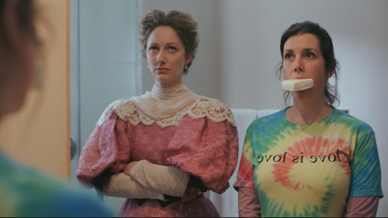 """Judy Greer and Melanie Lynskey star in """"Lady of the Manor."""" Photo courtesy of Lionsgate."""