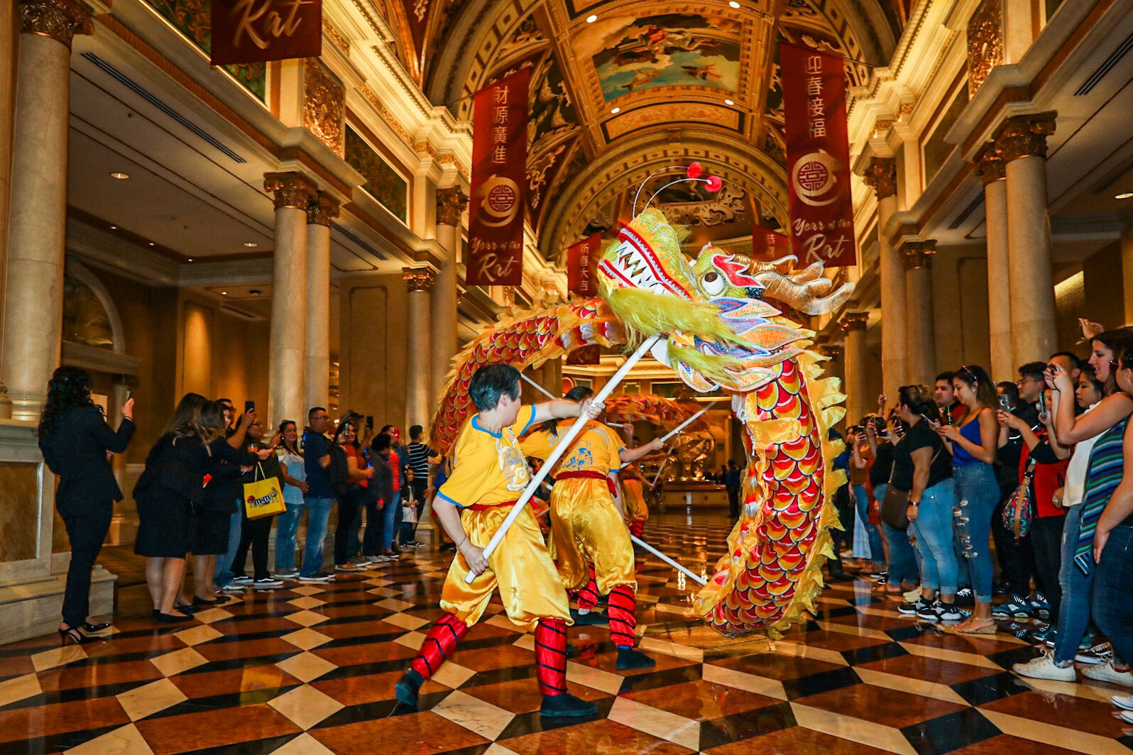 The dragon dancers wind their way through The Venetian lobby to celebrate Chinese New Year.JPG