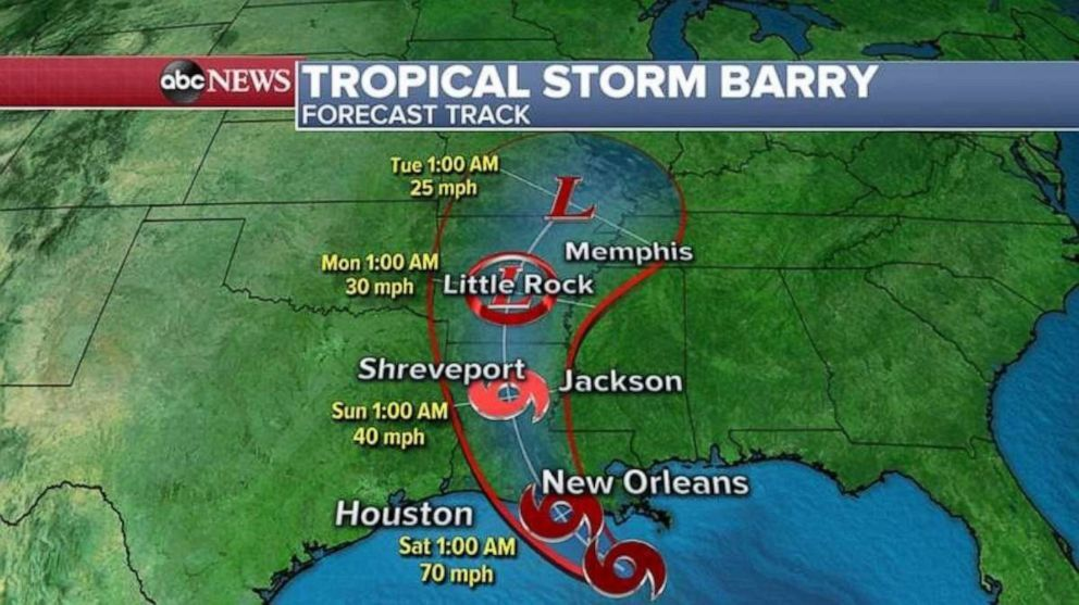 Barry is forecast to make landfall in southern Louisiana early Saturday (ABC News)