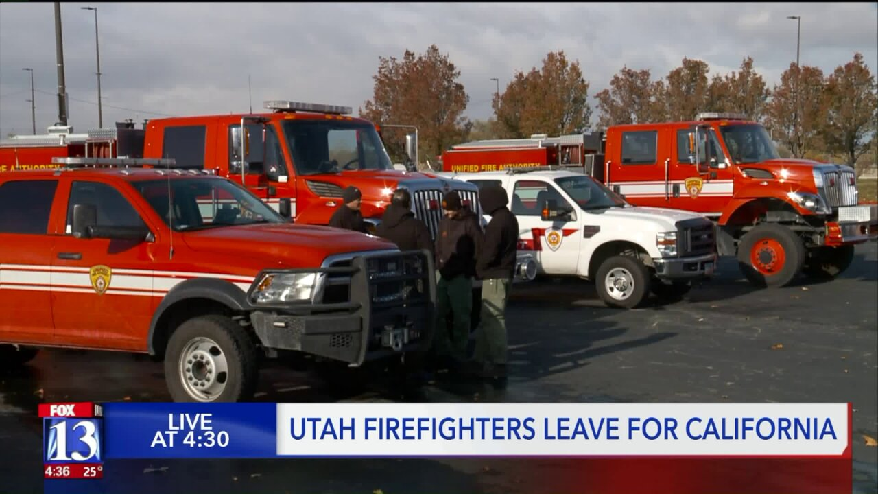 40 Utah firefighters head out to California to help fightfires