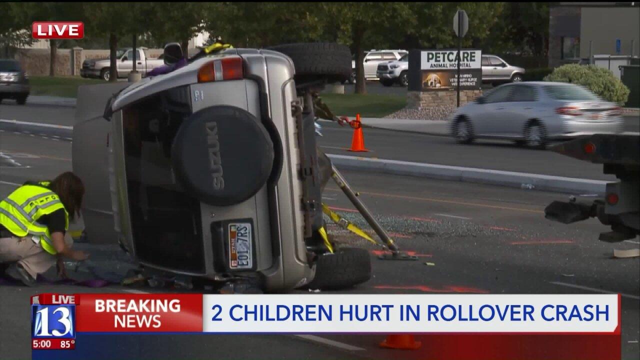 2 kids injured in South Jordan Parkway rollover; impairmentsuspected