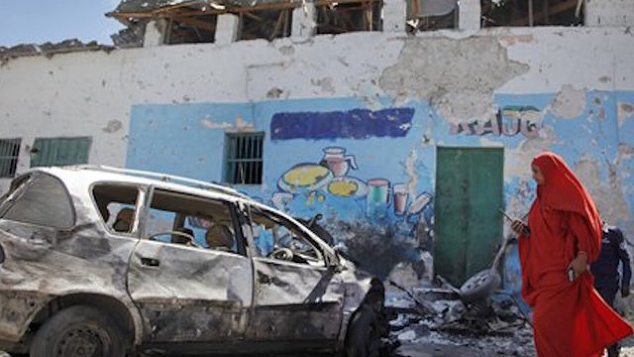 Car bomb kills 2 at restaurant in the capital of Somalia