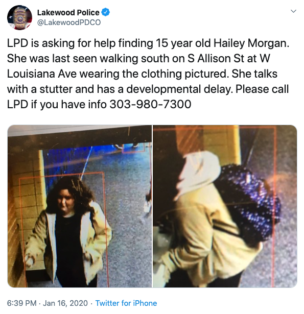 hailey morgan missing_lakewood pd tweet.png