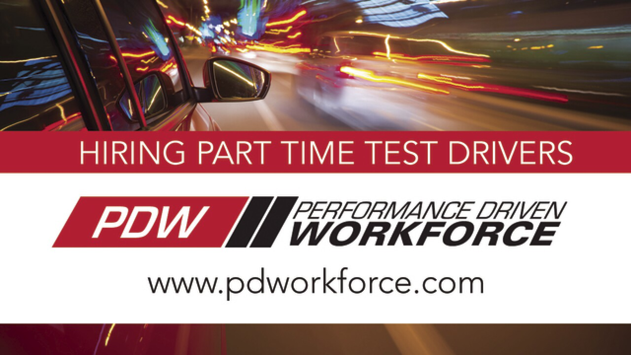 Performance Driven Workforce hiring 50 test car drivers in metro Detroit