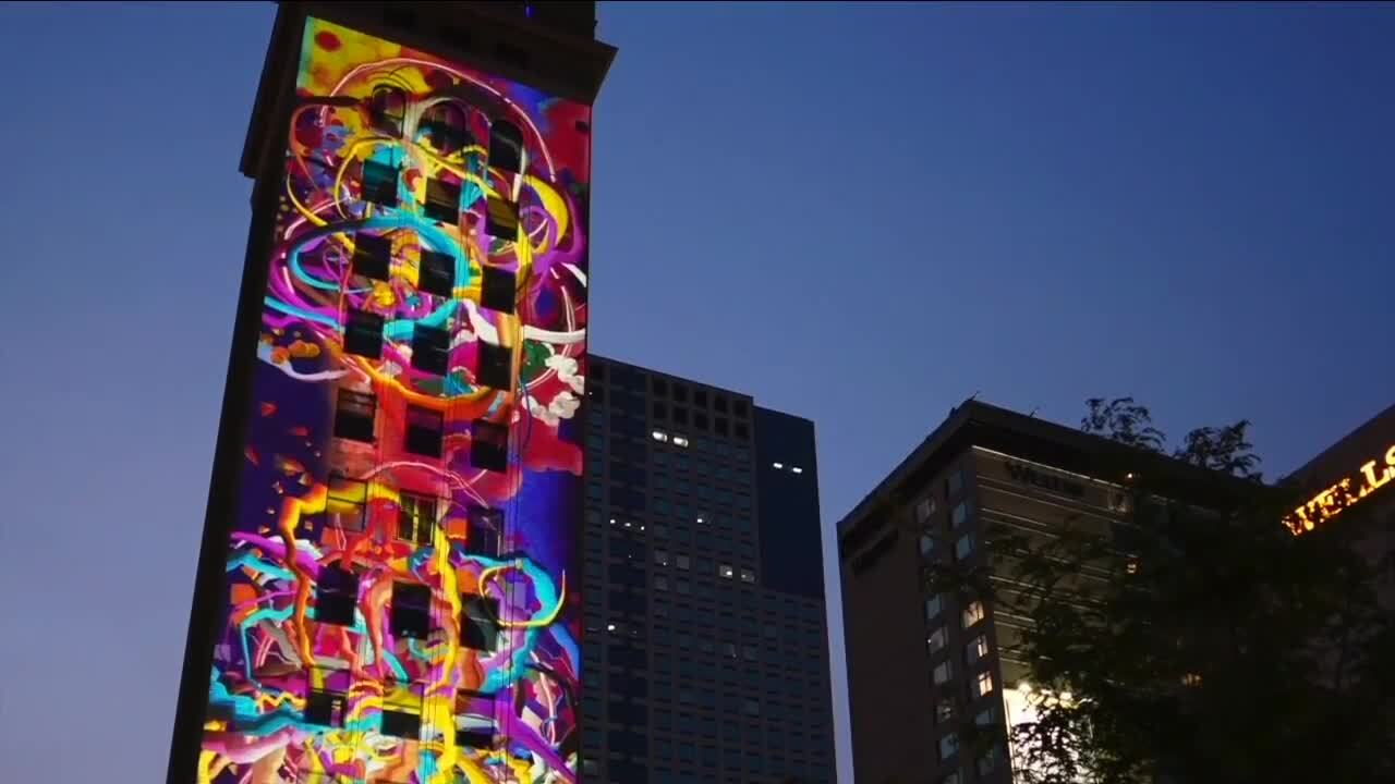What's That?: 'Night Lights Denver' projects art onto clock tower
