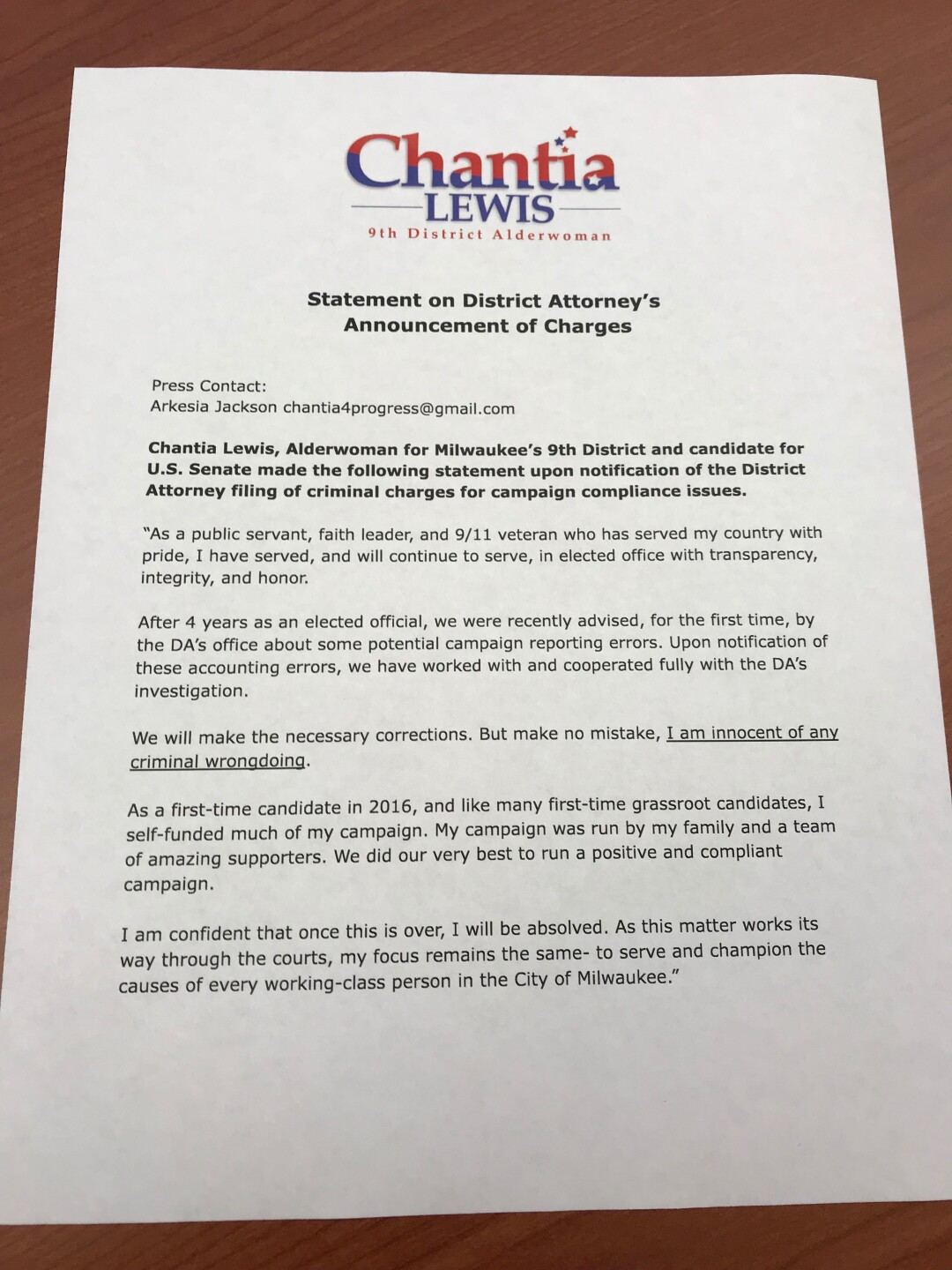 Statement from Chantia Lewis on charges