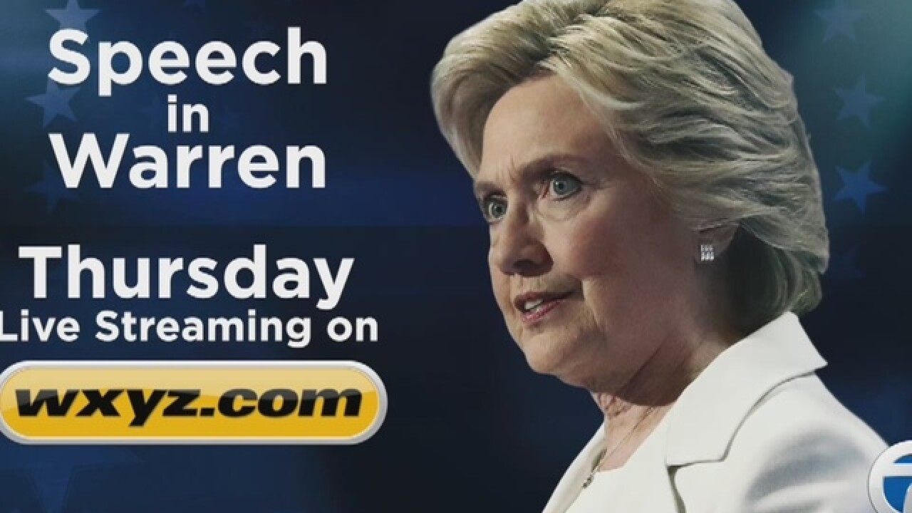 Hillary Clinton heading to Warren today